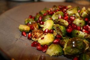 Brussel Sprouts with Pomegranate Balsamic Glaze