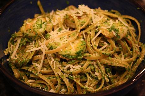 Crispy Shrimp Pasta with Arugula Pesto Cream Sauce