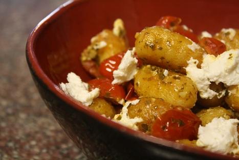 Crispy Gnocchi with Pesto & Goat Cheese