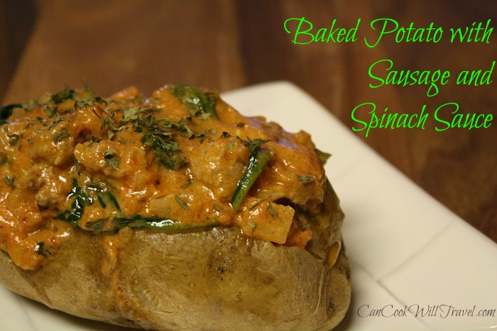 Baked Potato with Sausage and Spinach Sauce