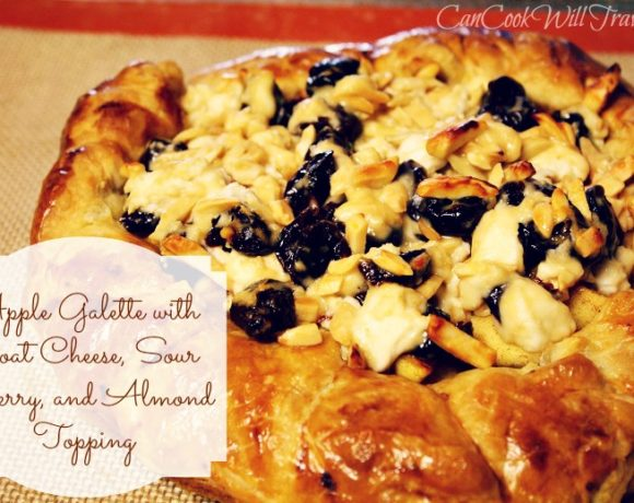 Apple Galette with Goat Cheese, Sour Cherry, and Almond Topping