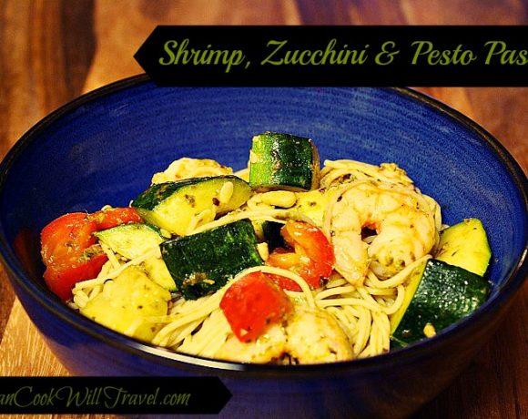 Shrimp, Zucchini and Pesto Angel Hair Pasta