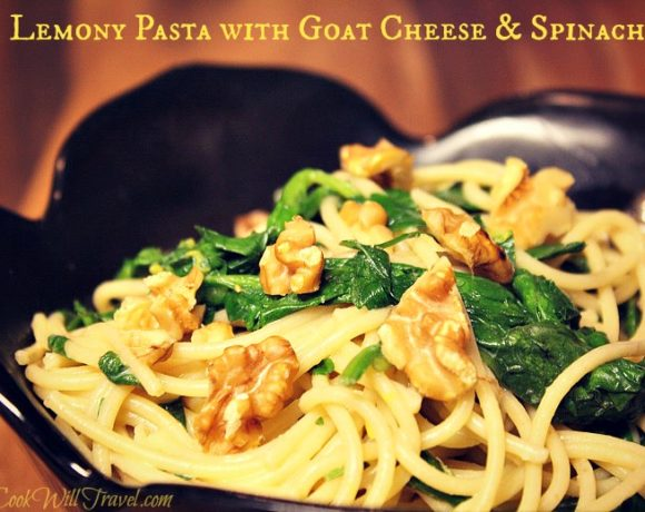 Lemony Pasta with Goat Cheese and Spinach = Healthy Pasta Coming Your Way