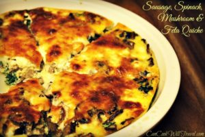 Sausage, Spinach, Mushroom and Feta Crustless Quiche