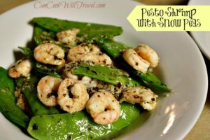 Pesto Shrimp with Snow Peas over Quinoa = Healthy & Fast!