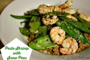 Pesto Shrimp with Snow Peas over Quinoa