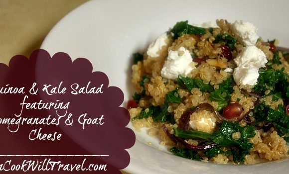 Quinoa and Kale Salad with Pomegranates and Goat Cheese