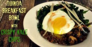 Quinoa Breakfast Bowl with Crispy Kale Chips