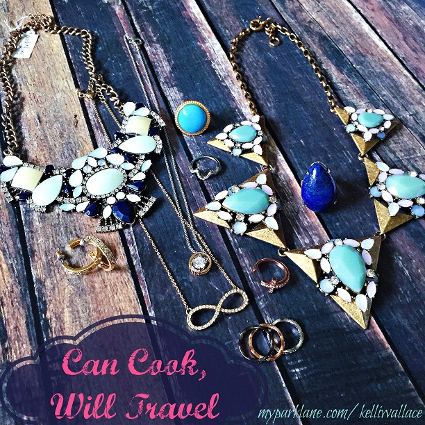 I love pieces with pops of color and also more simple items, and here are some of my favorites: Lotus Blossom, Infinite, and Avant Garde necklaces; Hoop earrings; Rio, Affection, Now & Forever, Lapis ring & Trifecta set of 3 rings