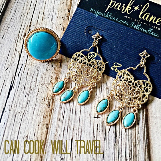 The Rio ring and Filigree earrings are the perfect pop of turquoise.