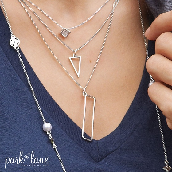 Icon Necklace layered with Andria necklace and long Madeline necklace | photo credit: Park Lane Jewelry