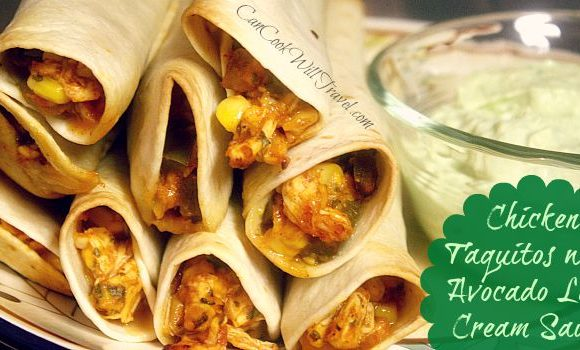 Chicken Taquitos with Avocado Cream Makes Dinner Seriously Tasty