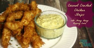 Coconut Crusted Chicken Tenders with Honey Mango Dipping Sauce