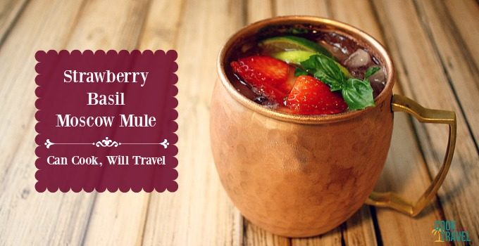 Strawberry Basil Moscow Mule Cocktail