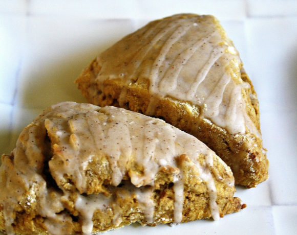 White plate with dairy free pumpkin scones