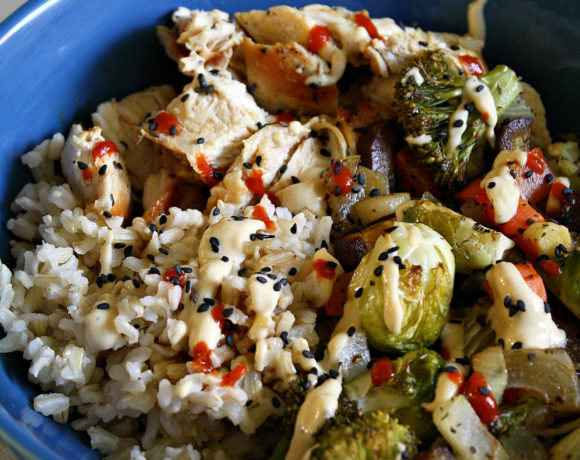 Roasted Veggie Sriracha Tahini Bowl