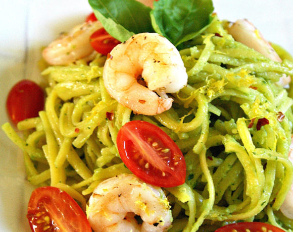 Healthy Avocado Linguine with Shrimp
