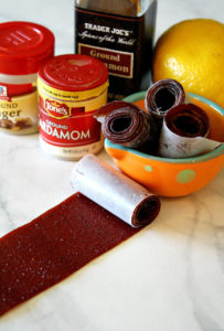 Strawberry Pineapple Fruit Leather with spices and lemon