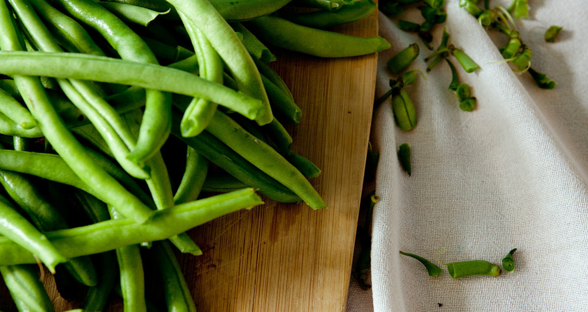Green Beans on a Cutting Board for Summer Recipes